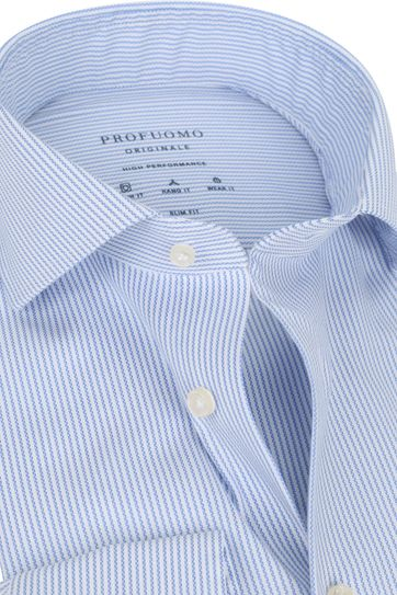 Profuomo Non-Iron Overhemd High Performance Streep Blauw