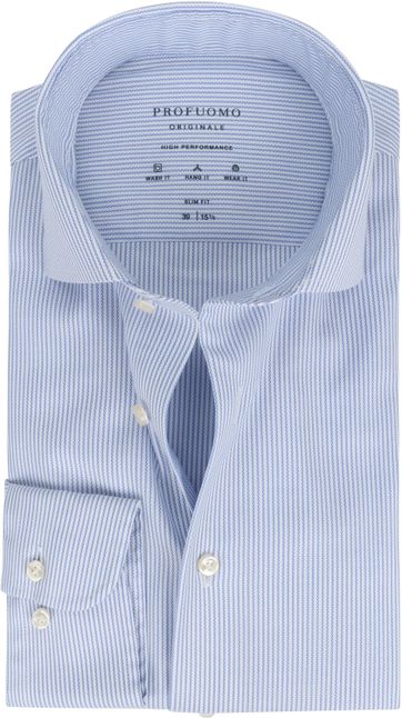 Profuomo Non-Iron Shirt High Performance Stripe Blue