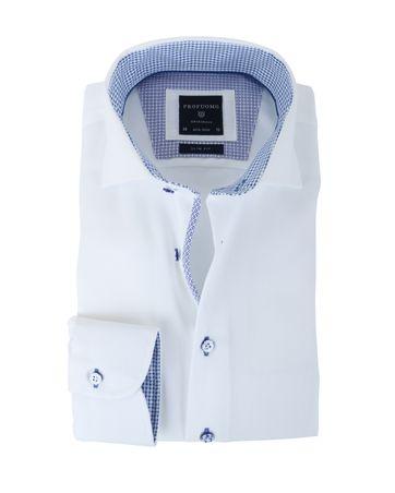 Profuomo Non Iron Slim Fit Overhemd Wit + Blauw