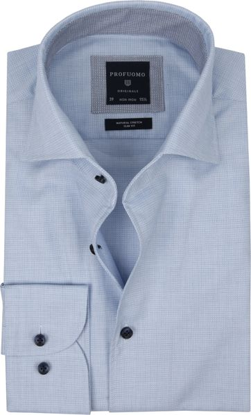 Profuomo Originale Hemd Print Blauw