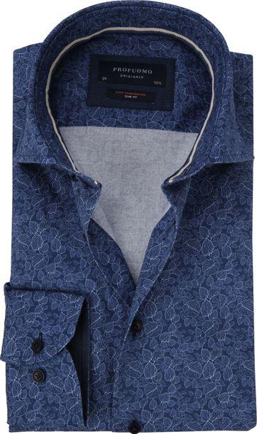 Profuomo Overhemd Bladeren Navy