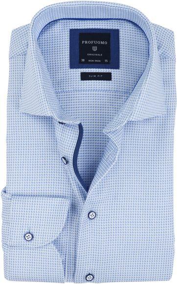 Profuomo Overhemd Blauw Dessin SF