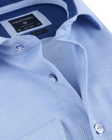 Detail Profuomo Overhemd Blauw Non Iron