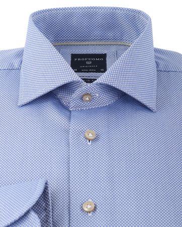 Detail Profuomo Overhemd Blauw Patroon