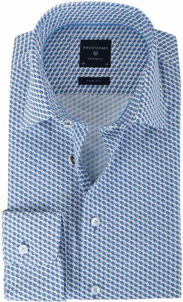 Profuomo Overhemd Blauw Print