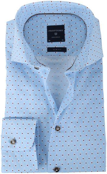 Profuomo Overhemd Blauw + Rood Print