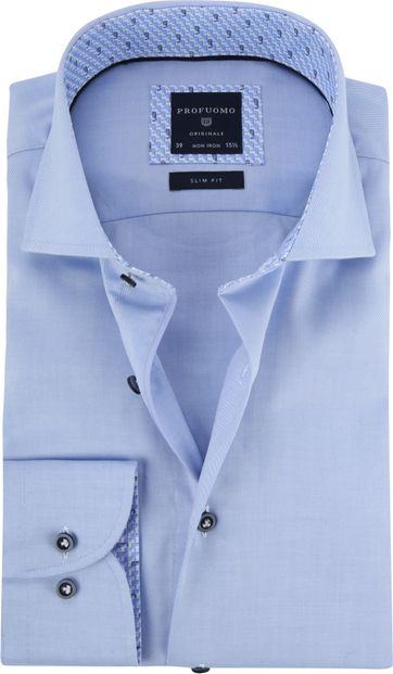 Profuomo Overhemd Blauw Twill CAW
