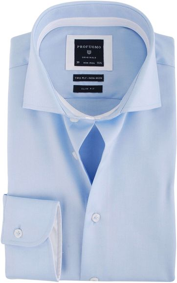 Profuomo Overhemd Blauw + Wit Contrast
