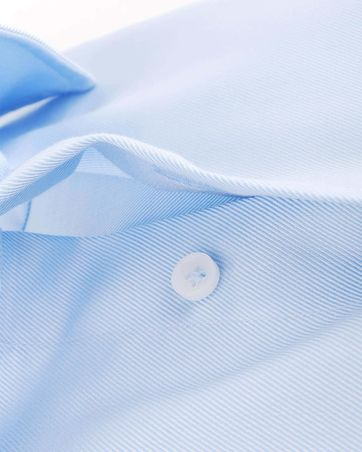 Detail Profuomo Overhemd Blauw + Wit Contrast