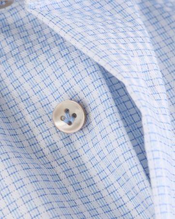 Detail Profuomo Overhemd Blauwe Ruitjes