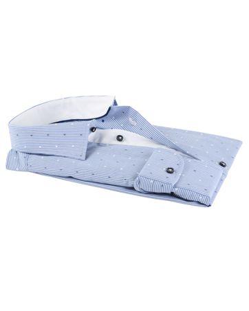 Detail Profuomo Overhemd Blauwe Strepen