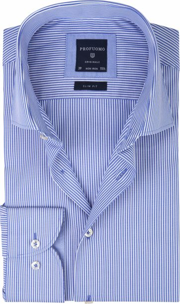 Profuomo Overhemd CAW Striped Blue