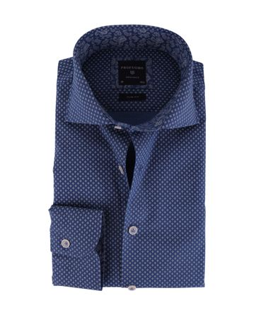 Profuomo Overhemd Cutaway Blauwe Print