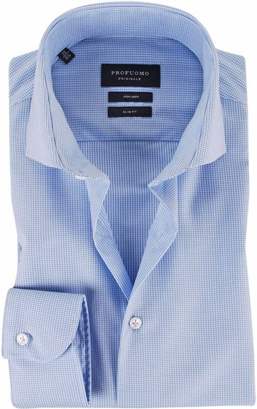 Profuomo Overhemd Cutaway Blue Checks