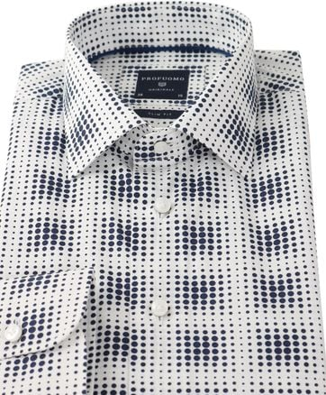 Detail Profuomo Overhemd Donkerblauw Pinpoint