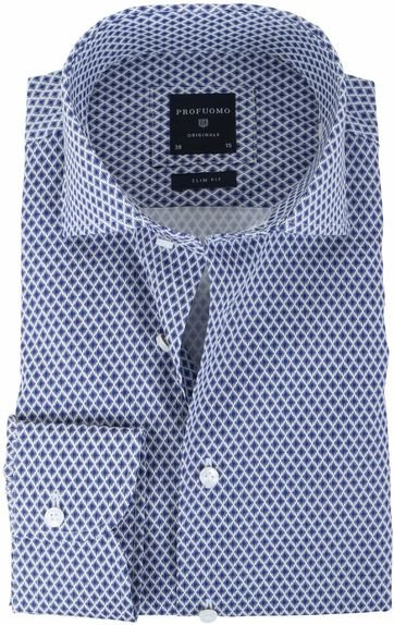 Profuomo Overhemd Donkerblauw Print