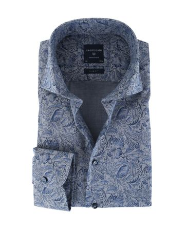 Profuomo Overhemd Flower Navy Slim Fit