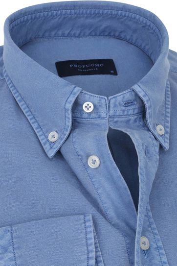 Profuomo Overhemd Garment Dyed Blauw