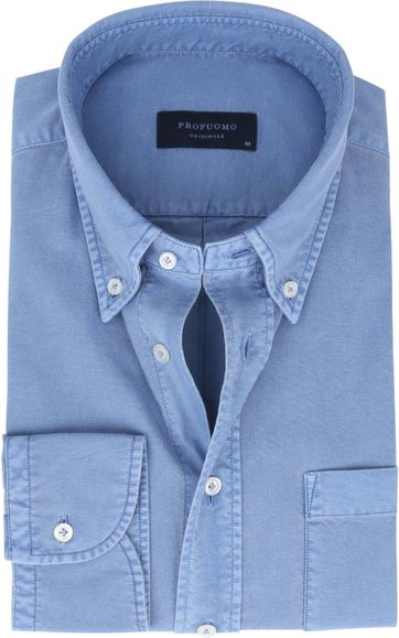 Profuomo Overhemd Garment Dyed Blauw