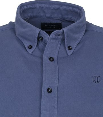 Profuomo Overhemd Garment Dyed Button Down Blauw