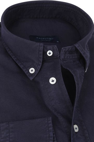 Profuomo Overhemd Garment Dyed Donkerblauw