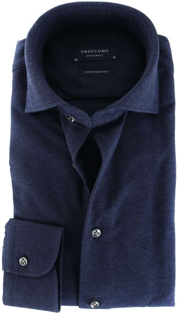 Profuomo Overhemd Knitted Donkerblauw