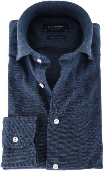 Profuomo Overhemd Knitted Indigoblauw