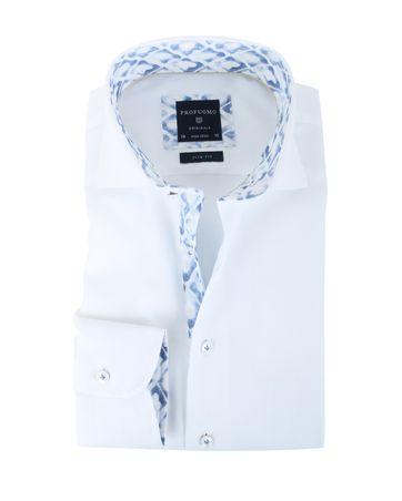 Profuomo Overhemd Non Iron Wit + Blauw