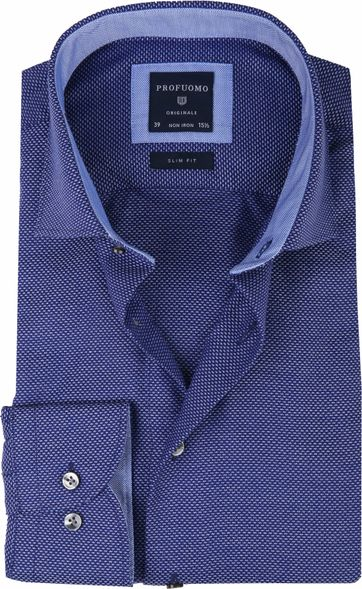 Profuomo Overhemd Oxford Navy Dessin