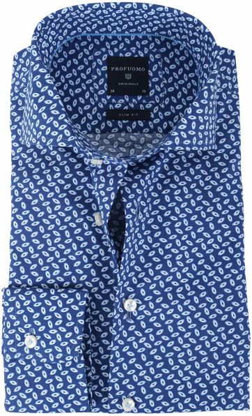 Profuomo Overhemd Royal Blue Print
