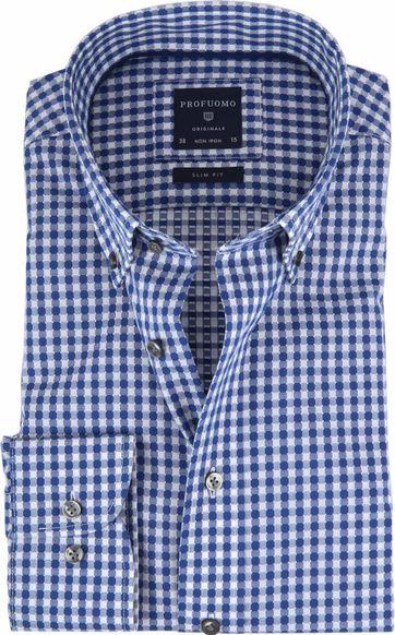 Profuomo Overhemd Ruit Blauw Wit