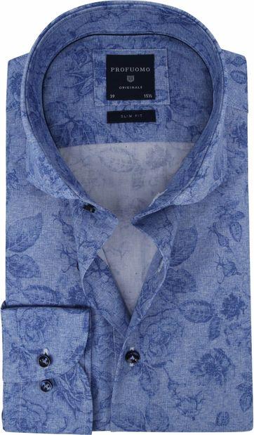 Profuomo Overhemd SF Blauw Bloemen