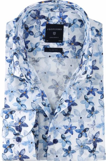 Profuomo Overhemd SF Bloemendessin Blauw