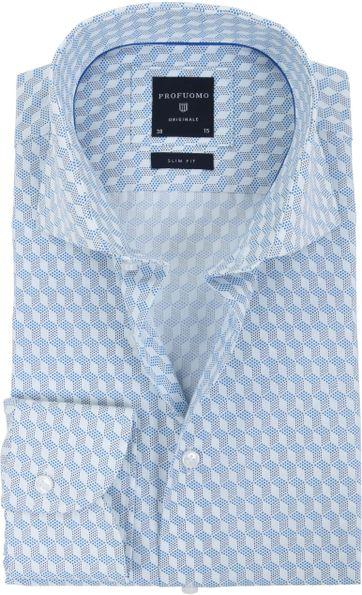 Profuomo Overhemd SF Dessin Blauw