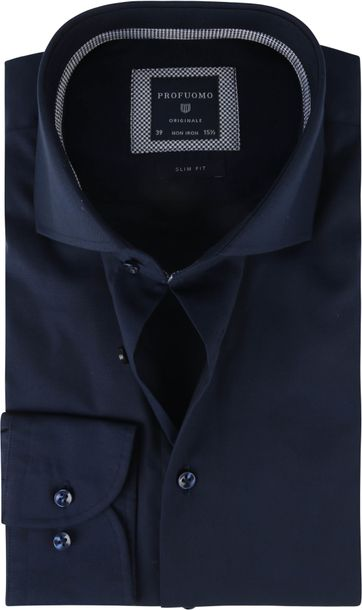 Profuomo Overhemd SF Pinpoint Donkerblauw