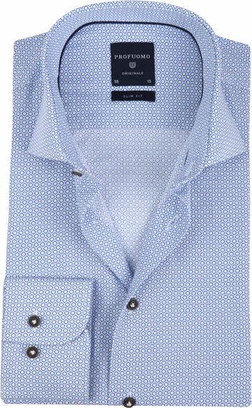 Profuomo Overhemd Slim-Fit Blauw Dessin