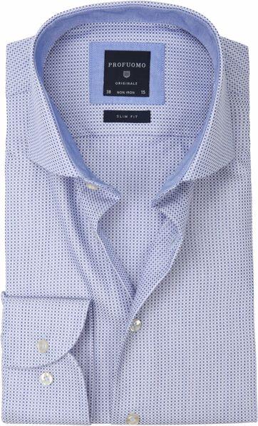 Profuomo Overhemd Slim-Fit Oxfort Blauw