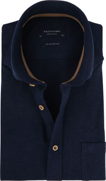 Profuomo Overhemd SS Knitted Navy