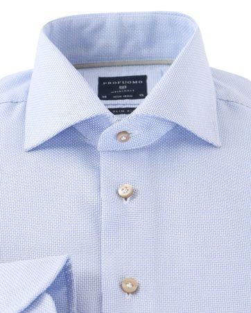 Detail Profuomo Overhemd Strijkvrij Blauw