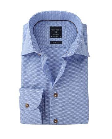 Profuomo Overhemd Strijkvrij Blauw Dessin