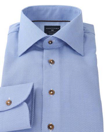 Detail Profuomo Overhemd Strijkvrij Blauw Dessin