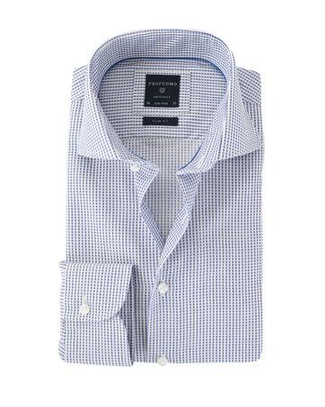 Profuomo Overhemd Strijkvrij Blauw Ruit