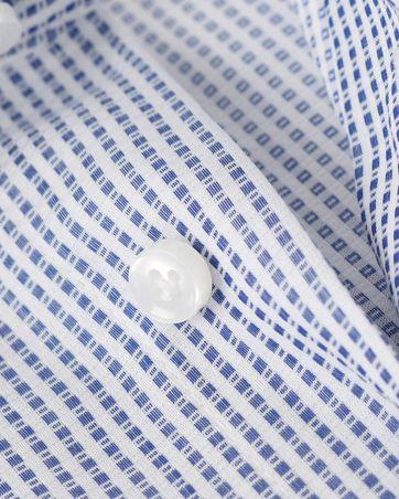 Detail Profuomo Overhemd Strijkvrij Blauw Ruit