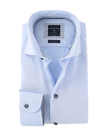 Profuomo Overhemd Strijkvrij Blauw Uni