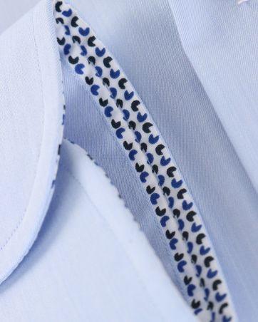 Detail Profuomo Overhemd Strijkvrij Blauw Uni