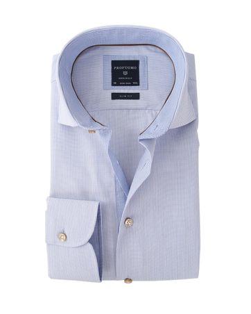 Profuomo Overhemd Strijkvrij Blauwe Streep