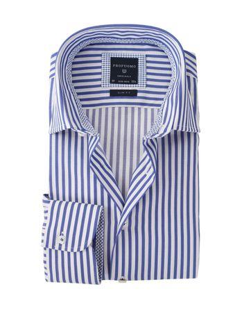 Profuomo Overhemd Strijkvrij Blauwe Strepen