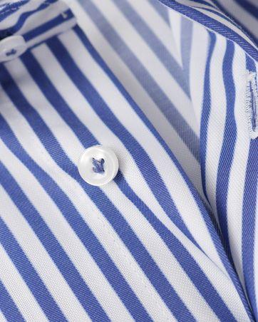 Detail Profuomo Overhemd Strijkvrij Blauwe Strepen