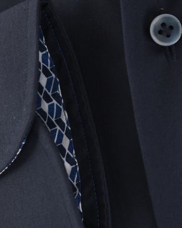 Detail Profuomo Overhemd Strijkvrij Donkerblauw