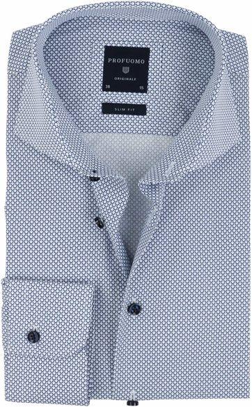 Profuomo Overhemd Strijkvrij Navy Cirkels